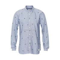 100% Cotton yarn dyed oxford Men's embroidered Shirts, Long Sleeves per-washed