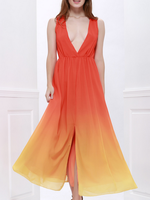 Big size women gradient contrast color prom dresses evening dress