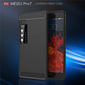 Wholesale Hybrid Carbon Fiber Rugged Armor Silicone Soft Mobile Phone Cover Case for Meizu Pro 7 Cell Phone Case for Meizu Pro 7