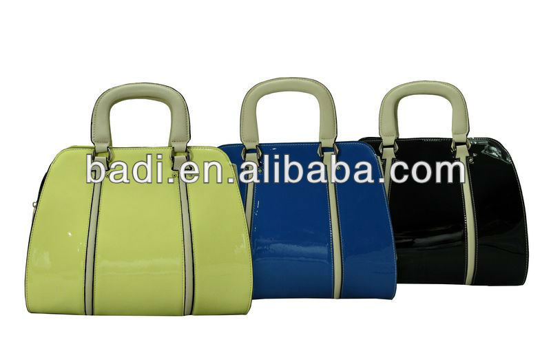 2013 latest hot selling fashionable high quality shining patent leather ladies handbags