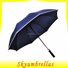 60 inch Golf Umbrella, Auto Open Large Straight Men's Umbrella Oversize with Safe Reflective Piping