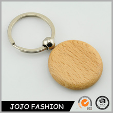 Hot sale promotion key chain simple customized round wood key chains