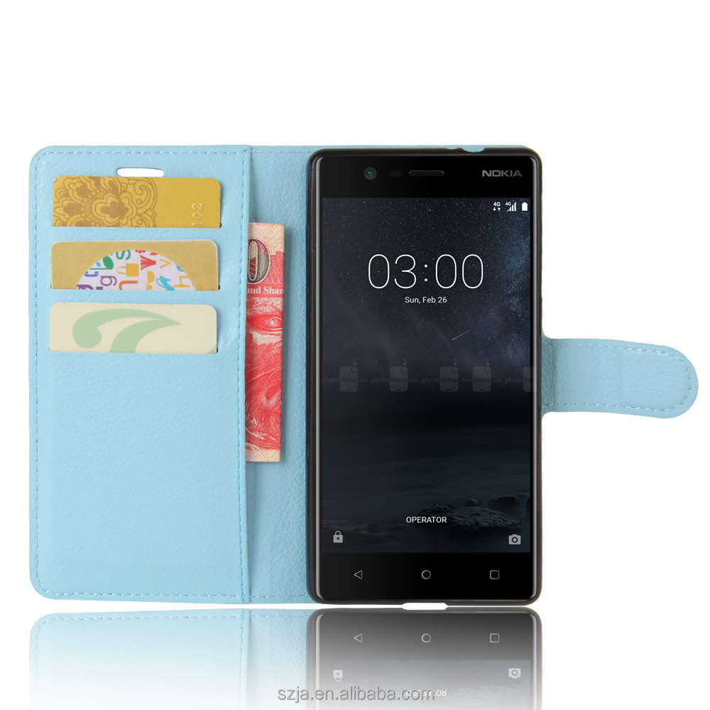 Top Quality PU Leather Flip Book Stand Card leather Wallet mobile phone cover case for Nokia 3