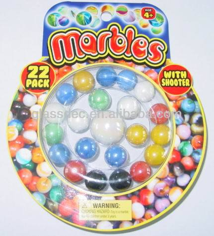 glass marble ball and glass marbles in blister card