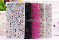 OEM flip leather case bling bling diamond phone case for iphone 6/6s