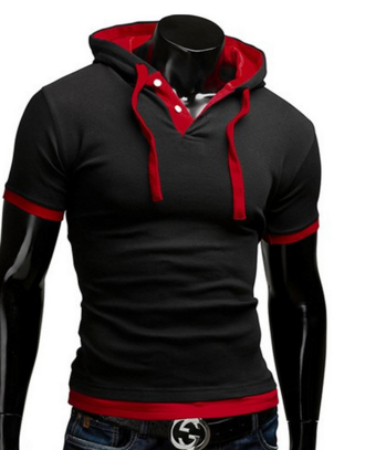 T045 Plus Size T Shirt Men Solid Men'S Hooded Collar Sling Tops & Tees T Shirt Men Short Sleeve Slim Tshirt