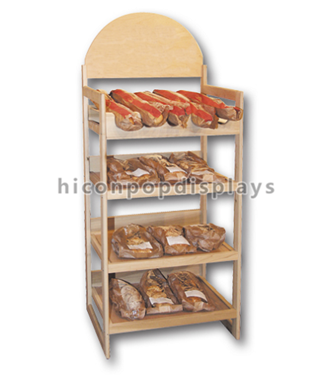 4-Layer Free Standing Bread Merchandising Equipment Carve Signage Rustic Supermarket Wooden Shelf