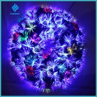 Multicolor artificial fiber optic christmas wreath for christmas decorations