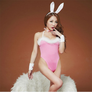 Pink bunny girl uniform ladies adult teddy sexy lingerie