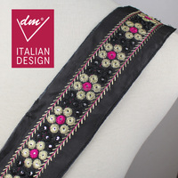 Fashion design 6.8cm width embroidery mirror lace trim , decorative flower ethnic trim