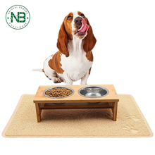 Raised Bowls Elevated Bamboo Pet Feeder with 2 Pet Bowls for Cats and Small Dogs