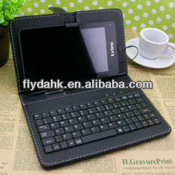 7 inch tablet pc leather case with keyboard