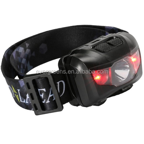Super lightweight 5W led head lamp with white and red light, AAA battery, separate switch