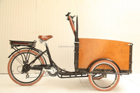 wood cargo bike three wheel electric cargo bike 20 inch wheel cargo tricycle