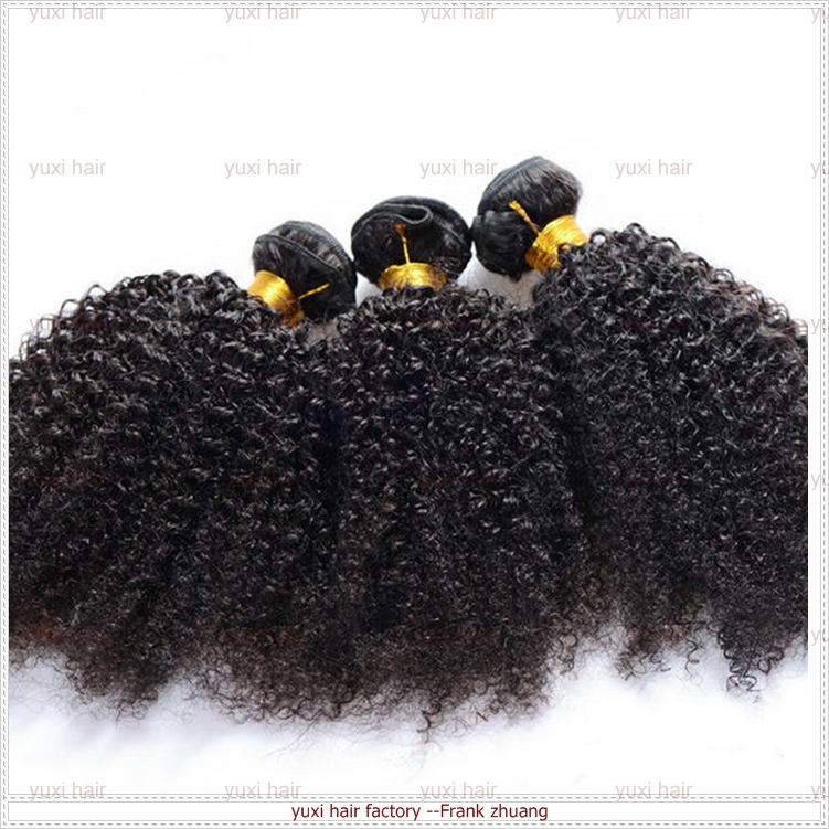 hot!! 2015 remy human hair, kinky curl unprocessed 100% virgin brazilian human hair extension