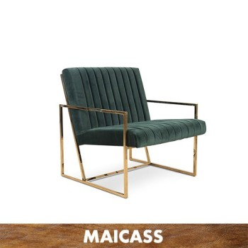 Brass chromed stainless steel velvet lounge chair