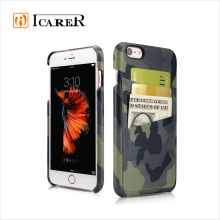 ICARER Camouflage Leather Pattern Back Cover Case for iPhone 6 6 Plus, Mobile Phone Real Leather Case for iPhone 4.7 5.5 inch
