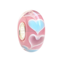 Wholesale Rose Valentine Hearts Murano Glass Bead with 925 Sterling Silver Tube For European Bracelets