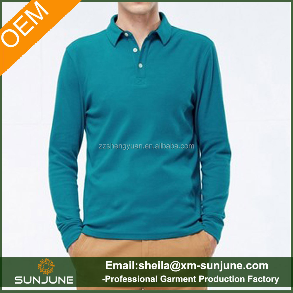 100% soft sueded cotton t-shirts long sleeve poloshirt