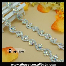 2015 New Flower Design AB Crystal Fancy Stone Chain Trimming For Dress DH-RE2116