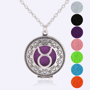 Aromatherapy jewelry necklace locket Twelve Zodiac Taurus Aroma Dispenser Phase Box Pendant Necklace Perfume Jewelry