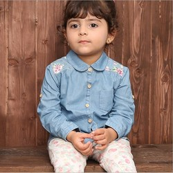 Best Seller Printed Jeans Shirt Formal Long Sleeve Embroidered Shirt For Girls