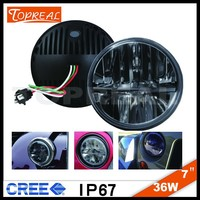 "china supplier 4x4 led light 7"" 36W round cree led motorcycle headlight"