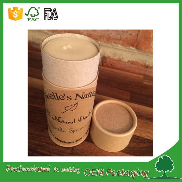 biodegradable brown kraft lipstick paper tube with push up design for 0.5oz 2.5oz lip balm deodorant stick packaging