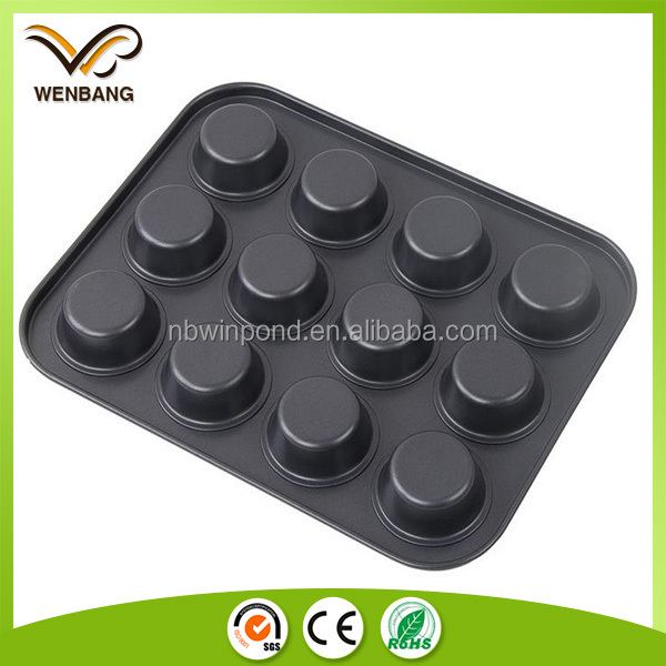 12cups non-stick coated muffin pan round