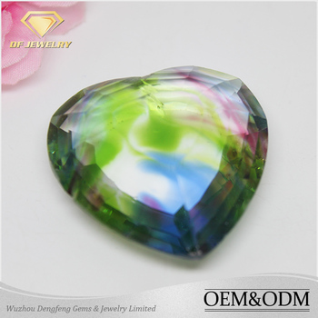 Fancy heart cut loose faceted colorful change glass gems for jewelry making