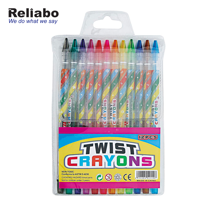 Reliabo Promotional New Year Gift OEM Clear Multicolor Wax Twisted Crayon For Children