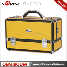 Portable Yellow aluminum cosmetic makeup train case