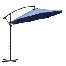 Outdoor 10ft offset cantilever garden steel frame patio hanging umbrella with cross base