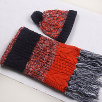 Wholesale Women's cable knitted hat and scarf sets long scarf winter chunky hat scarf set