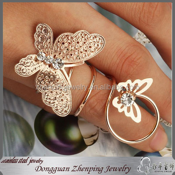 Women's Diamond Butterfly Adjustable Ring Fashion Stainless Steel Ring