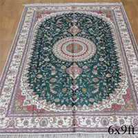 Anti-slip floor hand knotted silk aubusson carpet rug