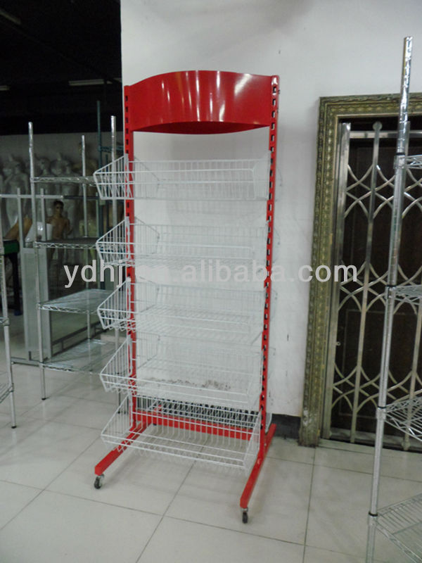 Yiwu Wholesale Supermarket Colorful Design Metal Wire Basket Display Rack with Good Powder Coating