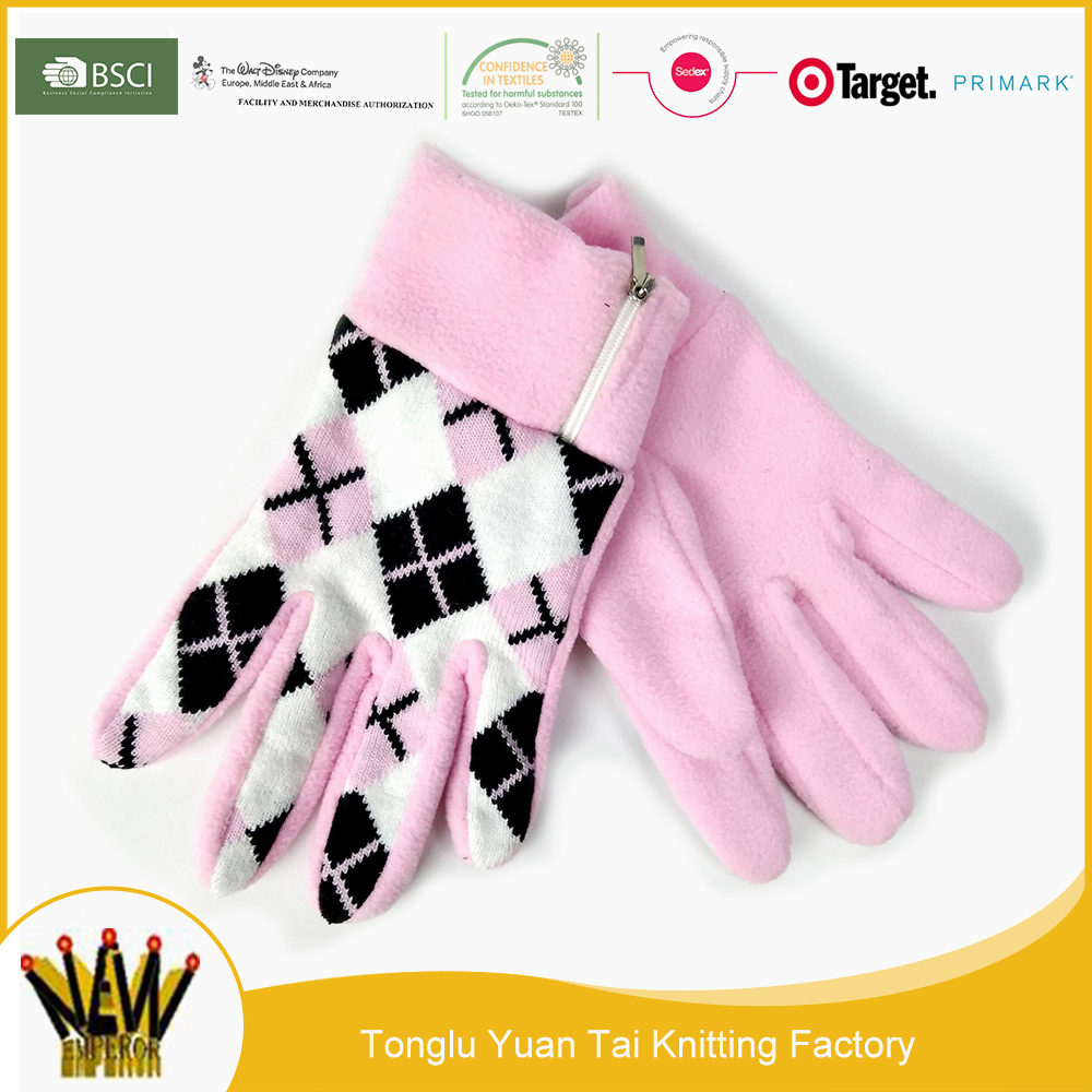 Customized cheap and comfortable pink magic knitting finger glove