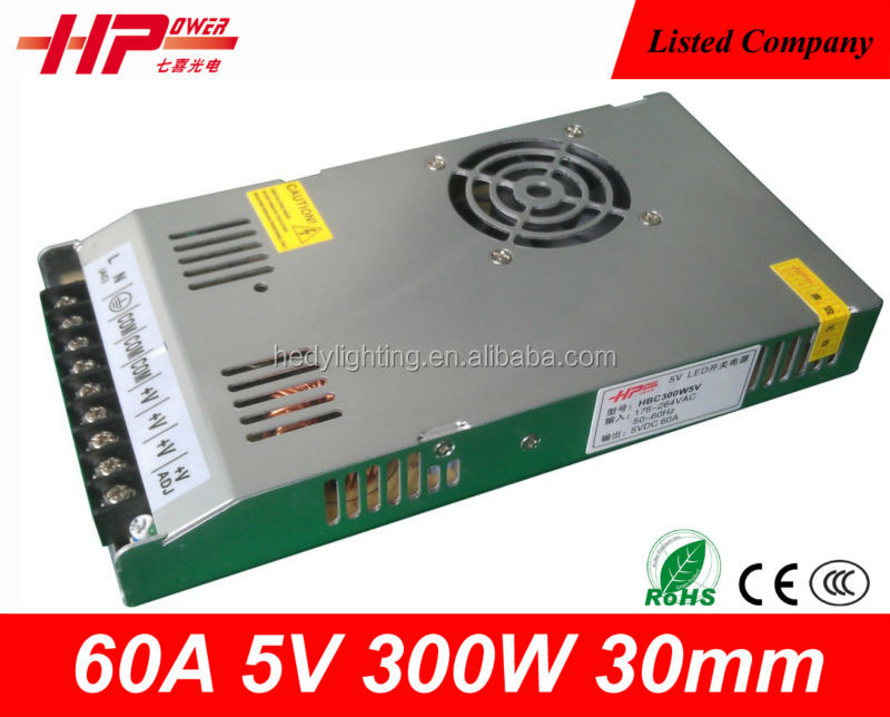 Factory CE RoHS ultra-thin constant voltage single output led switching mode 300W 60A 5V ac/dc power supply high current smps