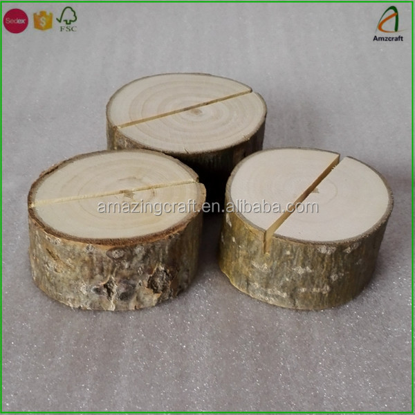 Wood Tree Log Slice Stand,Place Card Holders Display, Wedding Table Decoration
