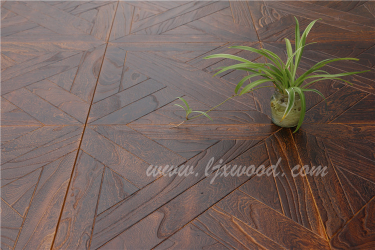 Carbonized Elm wood art parquet Engineered wood flooring classic design antique effect