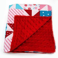 Hot Sale Personalized Luxury Red Patchwork Cotton Baby Crib Blanket