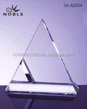 Clear Glass Blank Triangle Crystal Trophy Award For Souvenir.