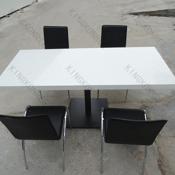 Engineered quartz restaurant table top 30mm thickness for Quartz top dining table