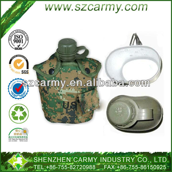 Very nice price Portable plastic camouflage 1L capacity military canteen water bottle with 1 pcs aluminum lunch box