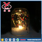 Decorative LED lighted clear glass candle holder candle jar for home decoration