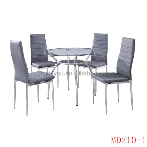 modern round glass dining room table and chairs