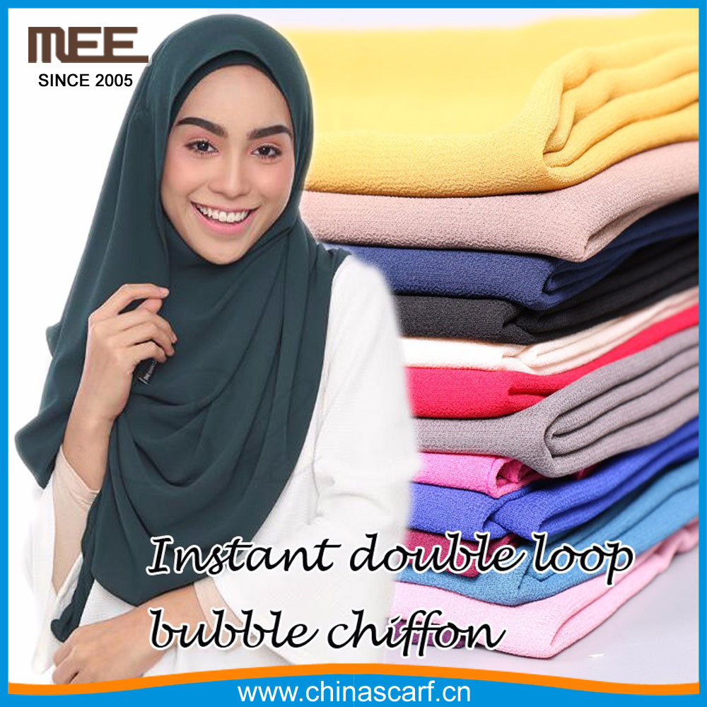 easy and handy heavy bubble chiffon solid color instant muslim hijab