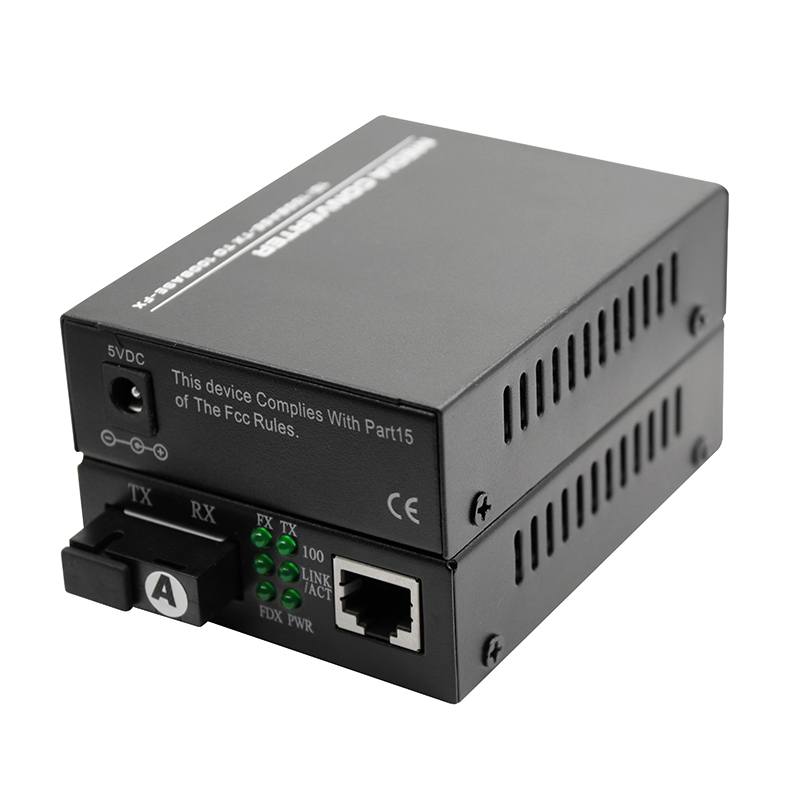 10 or 100 base fast fiber converter with SC connector