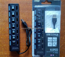 2.0 High Speed 7 Port USB HUB ON/OFF Convenient Sharing Switch For Laptop PC,2 Colors Available